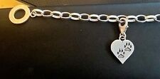 clip on Pawprint heart sterling silver charm .925 Paw Prints Pets Heart dangle