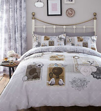 Catherine Lansfield Antique Collage Vintage Duvet Quilt Cover Bed Bedding Set Single