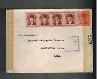 1940 Cairo Egypt Dual Censored Cover to USA national Geogrpahic Society