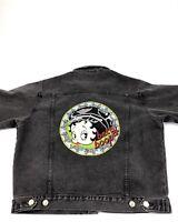 Vintage 90s Betty Boop Black Denim Jean Trucker Jacket Motorcycle Biker Betty L