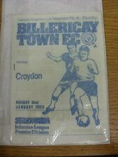03/01/1983 Billericay Town v Croydon  . Condition: We aspire to inspect all of o
