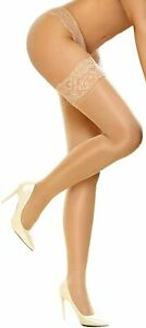 DancMolly Thigh High Stockings Sheer Lace Silicone Stay Up Hosiery Tights Nylon