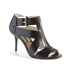 Michael Kors Anya Black Leather Open Toe Zip Buckle Sandals 7
