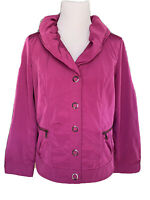 CHICOS Zenergy Magenta Button Up Lightweight Jacket Sz 1 EUC.
