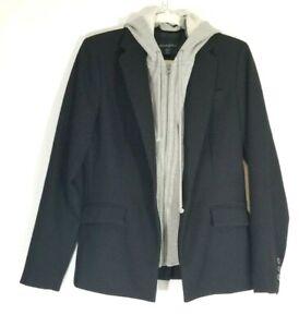 Cynthia Rowley M Blazer Jacket Black Faux Hood Lining Full Zip Longsleeve Casual