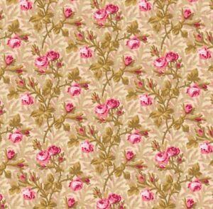 Pink Roses Savannah Classics Retro C.1865  P&B Textiles Quilting Fabric  1/2 y