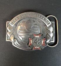 "Vintage VFW ""Meet The Challenge"" Foreign War Veteran Belt Buckle Limited Edition"