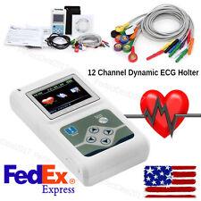 US Seller,12 Channel  24hours Dynamic ECG Holter EKG Recorder Analyzer Software