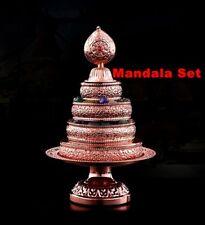 Tibetan Buddhism Altar Mandala Manza Set Tray Rose Gold Buddhist Offering