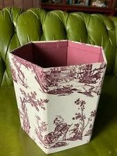 French Parisi BHV Burgundy Red Linen waste paper basket foldable trash can