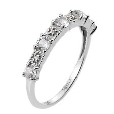 Rhodium Plated Sterling Silver Ring With Natural White Zircon