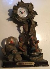 "Native American Indian Collectible Clock 10 X 6"" Unique Battery Op  Time Piece"