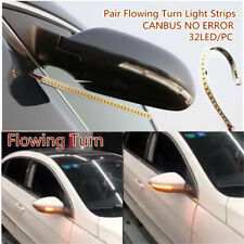 1x 32 LED Amber 12V Car Rear Mirrors Flexible Flowing Turn Signal Light Strip JO