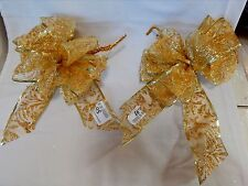 """Big Wedding Glitter Bows Michaels Stores 12""""x 9"""" Gold Color Handcrafted 2ea 11L"""