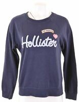 HOLLISTER Womens Sweatshirt Jumper Size 10 Small Navy Blue Cotton Loose Fit