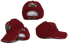 Bull Skull Buffalo Indian Native Pride Red Embroidered Ball Cap Hat (RAM)