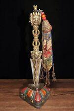 Chinese Antique Tibetan Buddhist hand-embellished gems Vajra Town House Evil