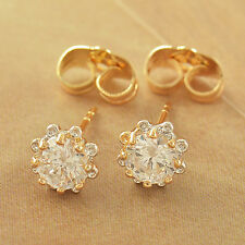 Children baby girls earings Yellow Gold filled safety cute Flower Hoop Earrings