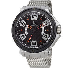 Joshua & Sons JX132RD Multifunction Black Dual Date Wheel Stainless Steel Watch