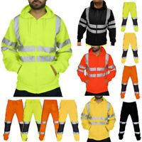 Men Road Work High Visibility Overalls Casual Pocket Suit Overcoat Trouser Pants