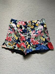 Zara Bright Flower Pattern Shorts With Ruffle Hem - Size M (10/12)