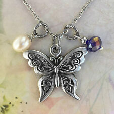 Butterfly Necklace with Freshwater Pearl & Blue Crystal