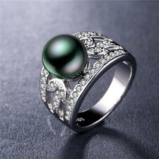Elegant 925 Silver Jewelry Round Cut Black Pearl Women Wedding Ring Size 8