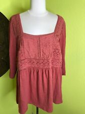 Anthropologie Womens Large Knit Top Solid Coral Tunic Crochet MEADOW RUE