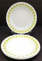 "Corelle Vitrelle South Beach Green Dot Dessert Bread Plates 6 3/4"" Set of 4"