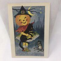 Vintage Postcard Halloween 1988 Pumpkin Black Cat