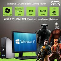 """Windows 10 Dell Core 2 Quad Gaming PC Computer - 16GB DDR3 - 1TB - 22"""" HDMI TFT"""