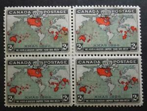 Canada #85, VF, MH OG Block Of 4, Green Muddy Waters, X-Mas 1897 Map Stamp