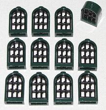 LEGO LOT OF 12 NEW DARK GREEN LATTICE WINDOWS WITH BLACK PANES