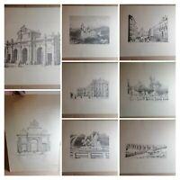 Litografias de finales del siglo XlX de Madrid. Obra de arte antigua vintage