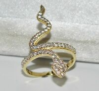 9ct Yellow Gold 0.50ct Snake / Serpent Large Cocktail Ring - size P