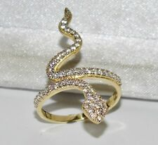 9ct Oro Giallo 0.50ct Serpente/Serpent grandi Cocktail Anello-Dimensione N