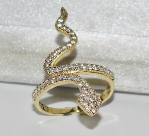 9ct Yellow Gold 0.50ct Snake / Serpent Large Cocktail Ring - size N