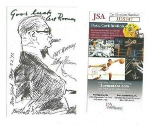 Art Rooney Pittsburgh Steelers Football HOFer Autographed 3x5 Picture JSA COA