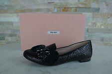 lujo MIU Talla 36,5 Zapatilla Bajo Zapatos Brillante Lux negras nueva