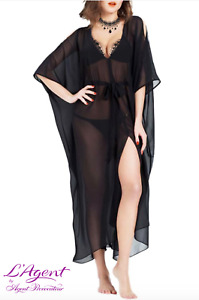 L'agent Agent Provocateur Holly Sheer Night Gown in Black RRP £125