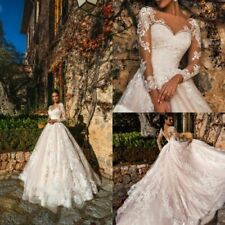 Wedding Dresses Bridal Ball Gowns Long Sleeves Lace Appliques Formal Bride White