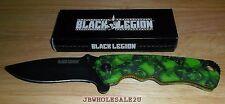 Black Legion Skull Mayhem Assisted Opening Pocket Knife Zombie Green-FREE SHIP