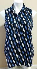 Michael Kors Blue Geometric Print Button Front Sleeveless Cotton Top Size L