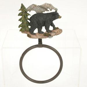 BLACK BEAR Towel Ring, Bathroom Towel Holder, by Slifka