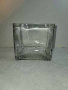 Square Clear Heavy Glass 4x4 Cube Vase Box