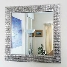 Silver mosaic effect square wall mirror 40cm-NEW square