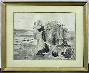 19th C. French Academic Drawing Peasant Woman in Wheat Field Att. Georges Laugee