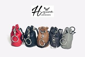 LEATHER DRAWSTRING POUCH 8X6CM  COIN MONEY PURSE TAXI KEY CHAIN BAG HOBBY GIFT