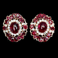 Oval Red Ruby 10x8mm Cz 14K Rose Gold Plate 925 Sterling Silver Earrings
