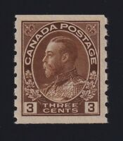 Canada Sc #129ii (1918) 3c yellow brown Admiral Coil Pair Mint VF NH